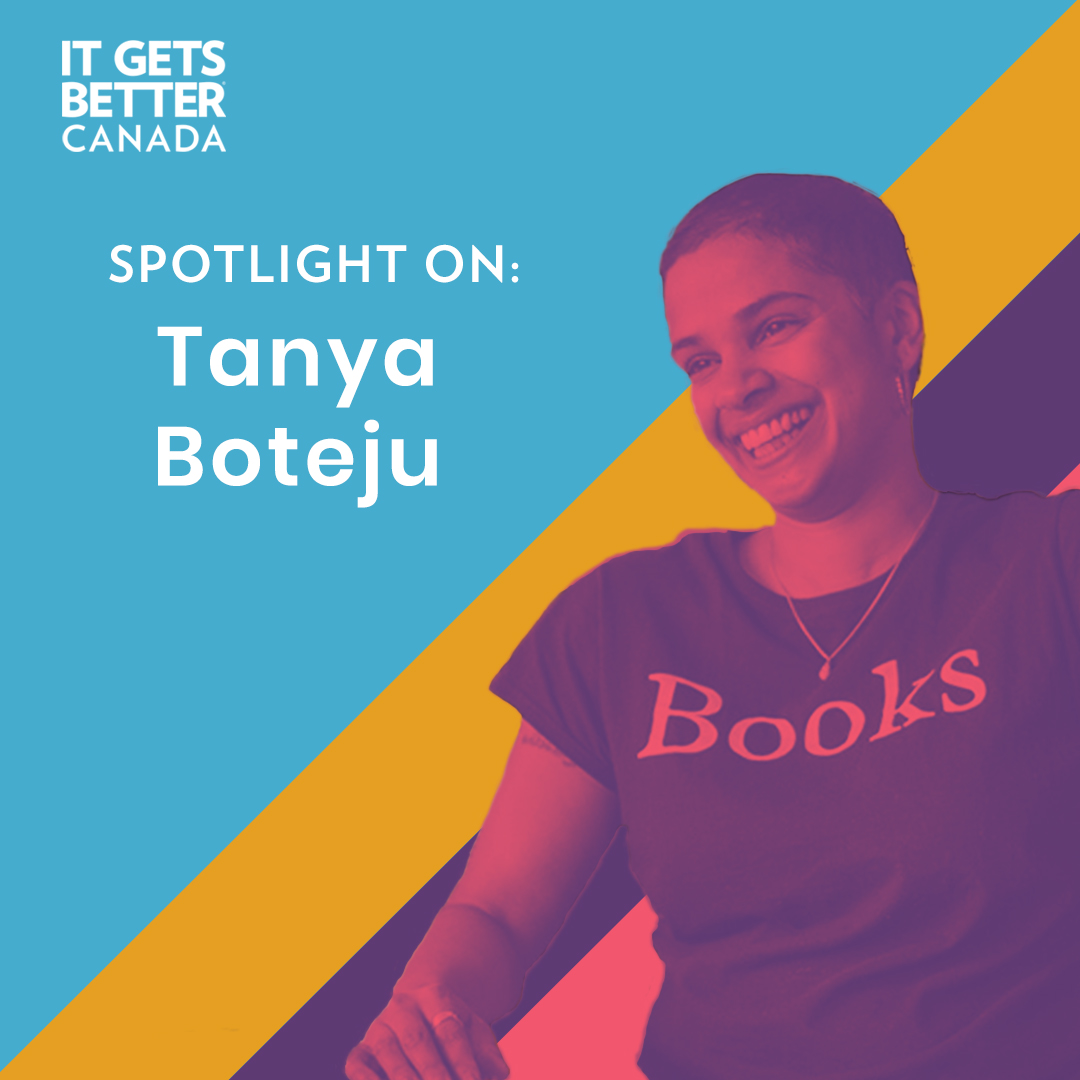 """An image of Tanya Boteju with a pink overlay and the words """"Spotlight On: Tanya Boteju"""""""