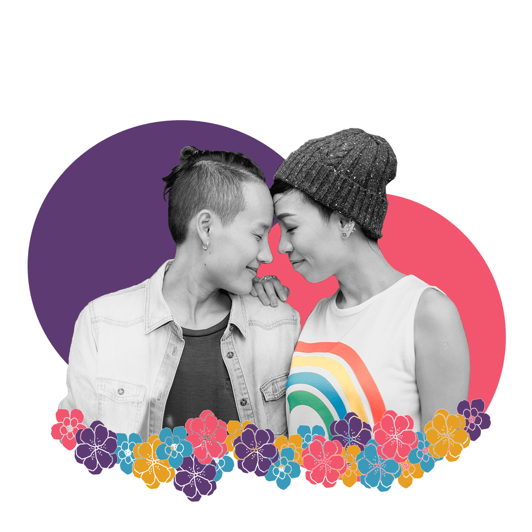 Black and white image of a lesbian couple touching foreheads