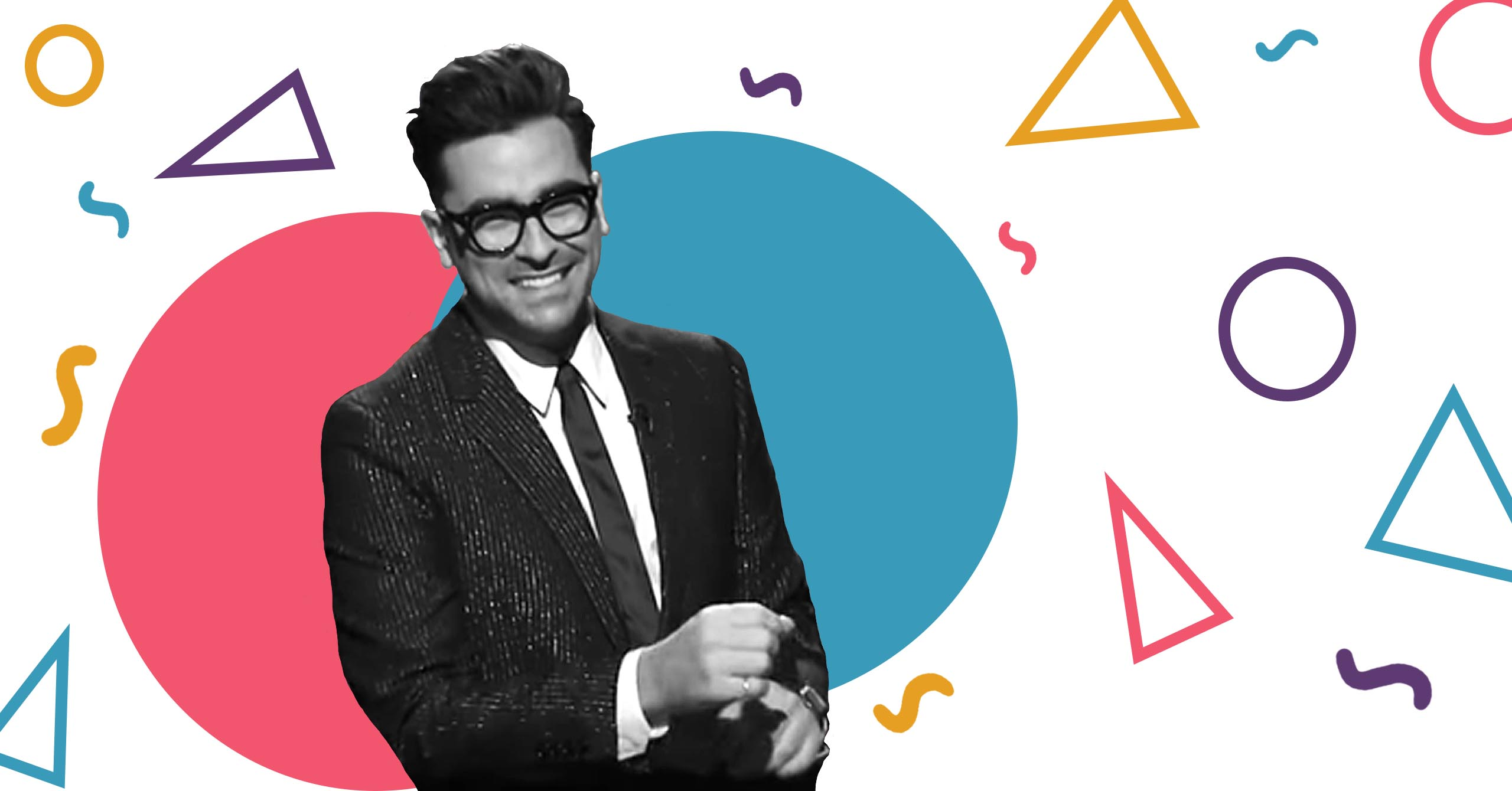 Banner image of Dan Levy smiling with shapes behind him
