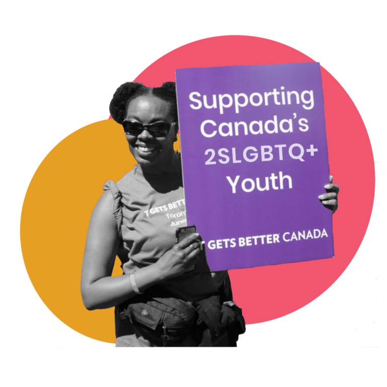 """Image of a person holding a sign that says, """"Supporting Canada's 2SLGBTQ+ Youth. It Gets Better Canada"""""""