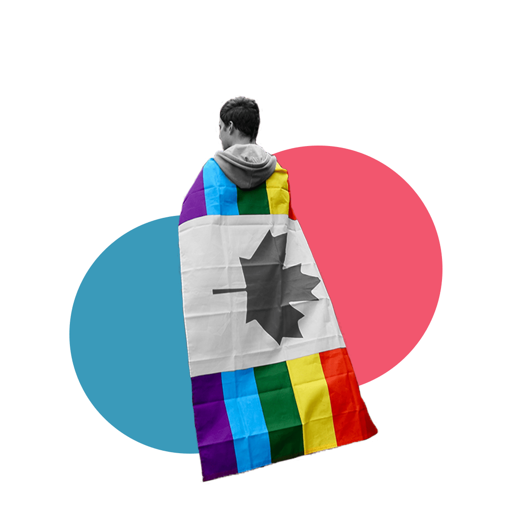 Black and white image with a rainbow flag on their back